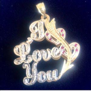 14k gold, diamond & ruby I Love You pendant